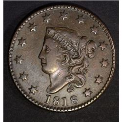 1818 LARGE CENT XF+