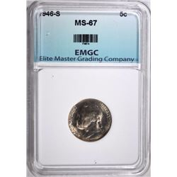 1946-S JEFFERSON NICKEL, SUPERB GEM BU EMGC