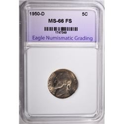 1950-D JEFFERSON NICKEL ENG SUPERB GEM BU FS