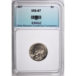 1967 JEFFERSON NICKEL,  EMGC SUPERB GEM BU