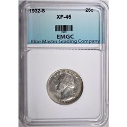 1932-S WASHINGTON QUARTER, EMGC XF/AU
