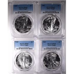 4-1987 AMERICAN SILVER EAGLES, PCGS-MS69