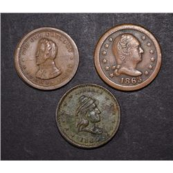 3-PATRIOTIC CIVIL WAR TOKENS