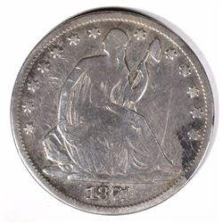 1871 SEATED HALF DOLLAR VG/F