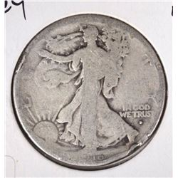 1916-D WALKING LIBERTY HALF DOLLAR VG