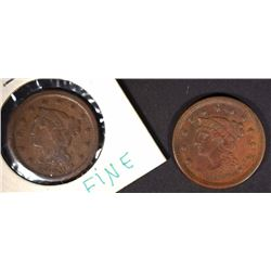 1853 & 1854 LARGE CENTS VF/XF