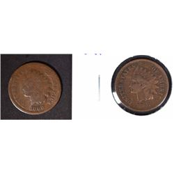 1866 & 1869 INDIAN HEADS CENTS G/VG
