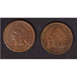 1875 & 1908-S INDIAN HEAD CENTS G/VG