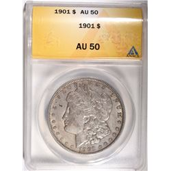1901 MORGAN DOLLAR ANACS AU50