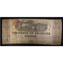 1863 STATE of GEORGIA ONE DOLLAR NOTE