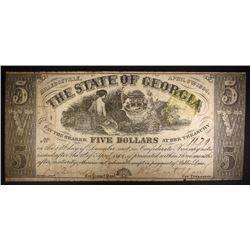 1864 STATE of GEORGIA FIVE DOLLAR NOTE