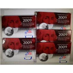 (5) 2009 US Territories Silver Proof Quarter Sets