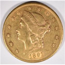 1891-S $20 GOLD LIBERTY XF-AU