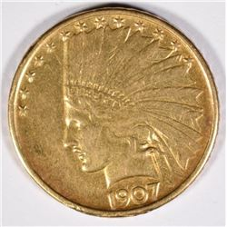 1907 $10 GOLD INDIAN XF-AU