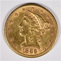 1886-S $5 GOLD LIBERTY XF-AU