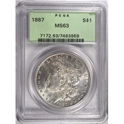 1887 MORGAN DOLLAR PCGS MS63