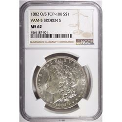 1882 O/S MORGAN DOLLAR NGC MS62 VAM-5