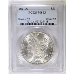 1891-S MORGAN DOLLAR PCGS MS63