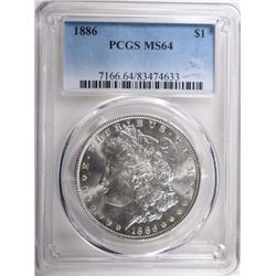 1886 MORGAN DOLLAR PCGS MS64