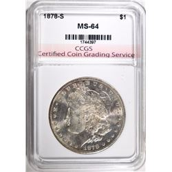 1878-S MORGAN DOLLAR CCGS CHOICE BU+