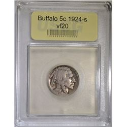 1924-S BUFFALO NICKEL USCG VF