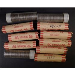 11 ROLLS LINCOLN CENTS: 1943 P-D-S, 4-1955 D