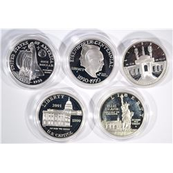 5 - SILVER PROOF COMMEM DOLLARS;