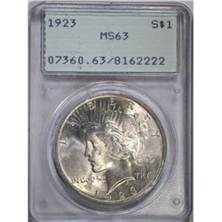 1923 PEACE SILVER DOLLAR PCGS MS63