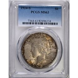 1924-S PEACE SILVER DOLLAR PCGS MS63