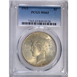 1925 PEACE SILVER DOLLAR PCGS MS 65