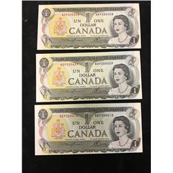 1973 BANK OF CANADA $1 NOTE LOT OF 3 IN SEQUENCE!