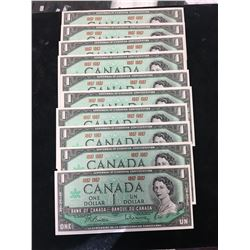 1967 BANK OF CANADA $1 NOTES LOT OF 10 NOTES!!