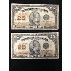 1923 SHINPLASTERS! 25 CENT FRACTIONAL NOTES! LOT OF 2 NOTES!