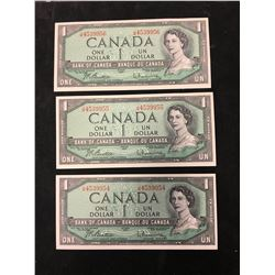 1954 BANK OF CANADA $1 NOTES! 3 IN SEQUENCE!