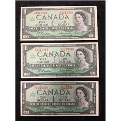 1967 BANK OF CANADA $1 NOTES LOT OF 3 IN SEQUENCE!