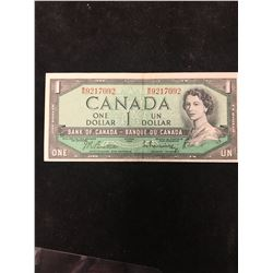 1954 BANK OF CANADA $1 NOTE! NO FRONT PLATE NUMBER! RARE!