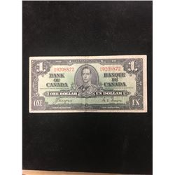 1937 BANK OF CANADA $1 NOTE! WIDE PANEL!