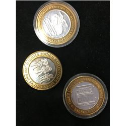 LOT OF 3 SILVER GAMBLING TOKENS!LIMITED EDITION TOKENS!