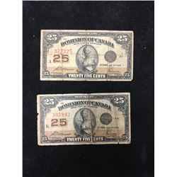 1923 DOMINION OF CANADA 25 CENTS FRACTIONAL NOTE! LOT OF 2 NOTES!