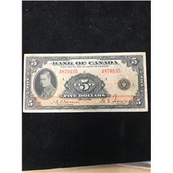 1935 BANK OF CANADA $5 NOTE!