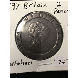 1797 GREAT BRITAIN 2 PENCE (CARTWHEEL)! NICE COIN