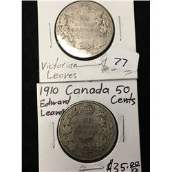 1910 CANADA 50 CENTS LOT OF 2 COINS! EDWARD LVE AND VIC LVES!