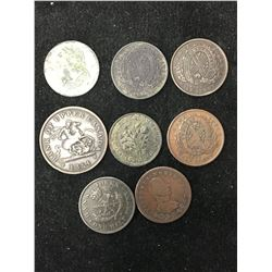 CANADA COLONIAL TOKENS LOT OF 8 TOKENS!