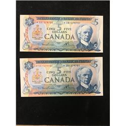 1972 BANK OF CANADA $5 REPLACEMENT NOTES! 1000 NUMBERS APART!