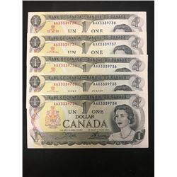 1973 AAX BANK OF CANADA $1 REPLACEMENT NOTES! OT OF 5 IN SEQUENCE!