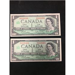1967 BANK OF CANADA $1 ROLLOVER NOTES!