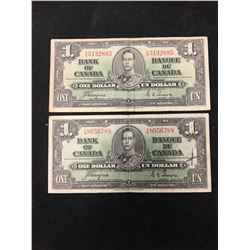 1937 BANK OF CANADA $1 NOTES! LOT OF 2 NOTE! WIDE PANEL!