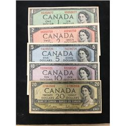 1954 BANK OF CANADA SET $1-$20