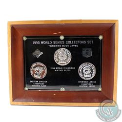 1993 Toronto Blue Jays World Series Limited Edition Collectors Set in Hard Plastic and Wooden Frame.