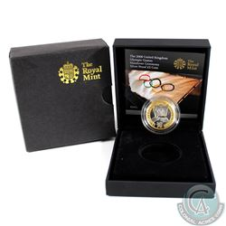 2008 United Kingdom Beijing Olympic Games Handover Ceremony Sterling Silver Gold Plated Proof Coin (